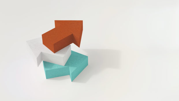 Three 3D arrows, different colors pointing in different directions