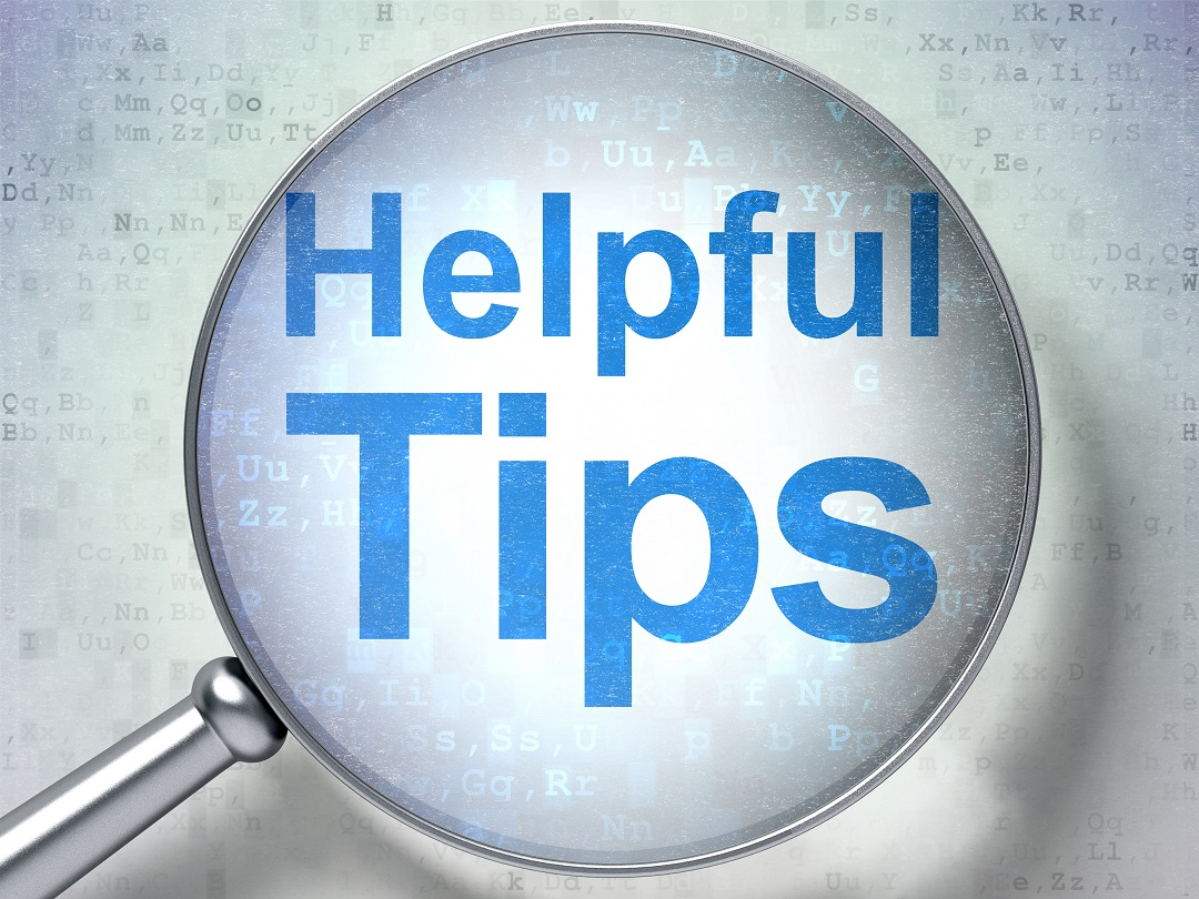 Helpful Tips in blue text with magnifying glass