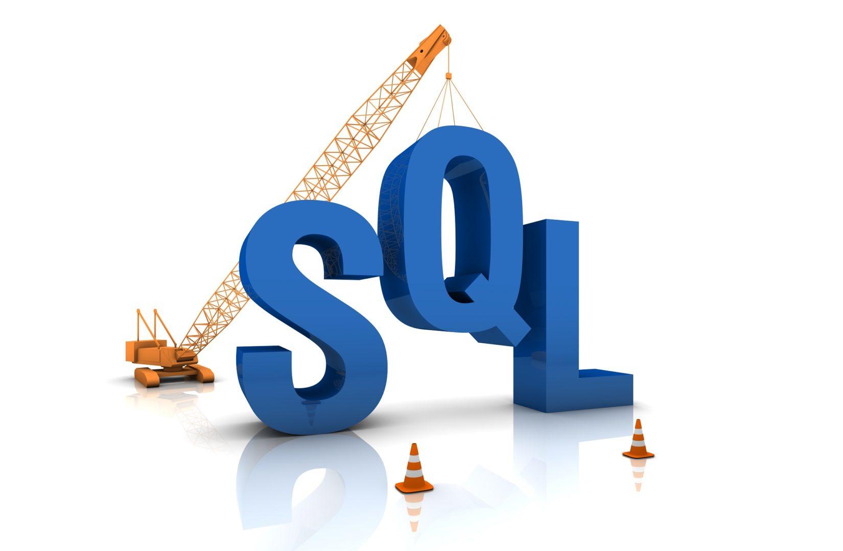 Construction site crane building a blue SQL 3D text.