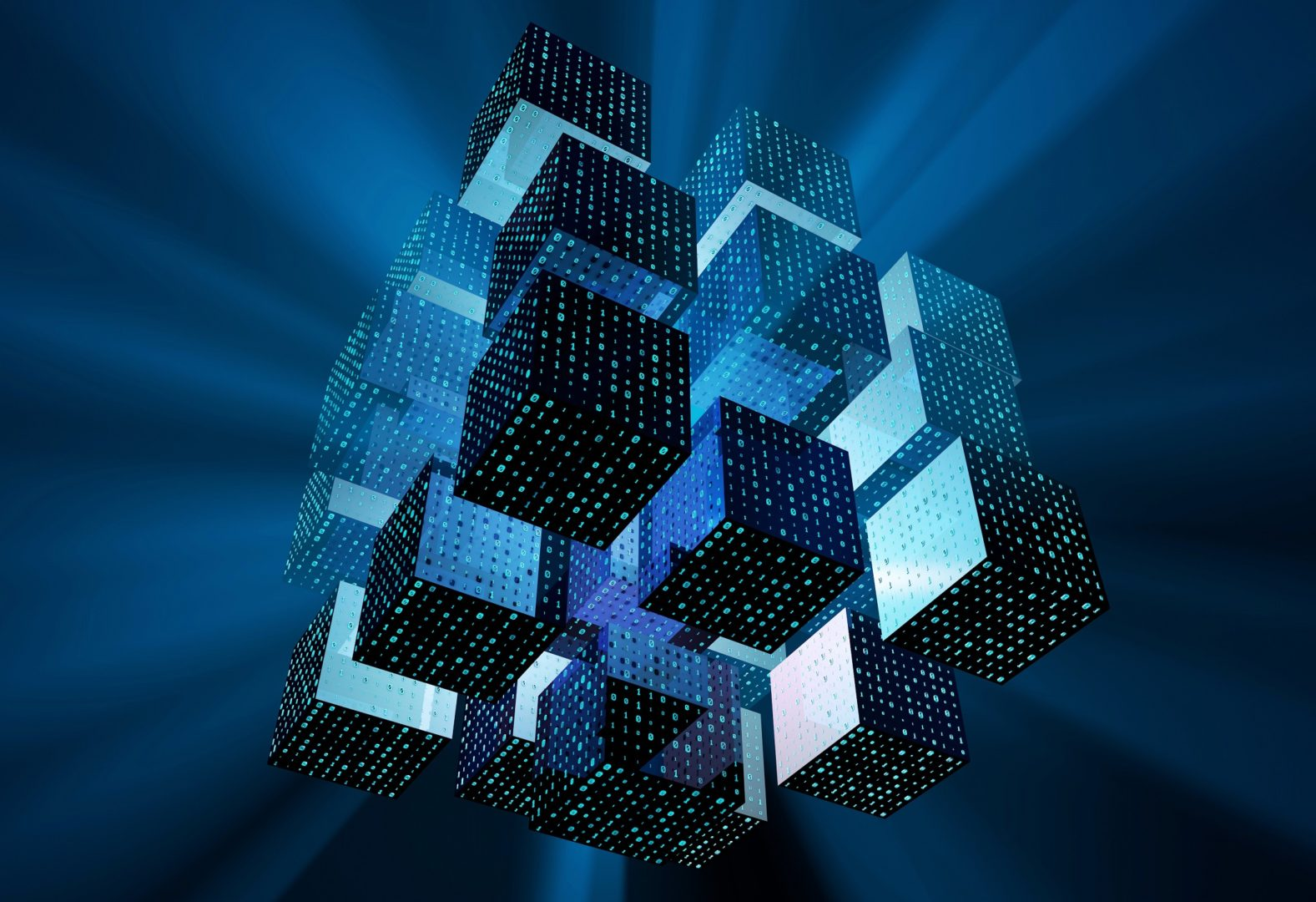 Cubes with binary ones and zeroes on them clustered together floating in blue space with light shining out